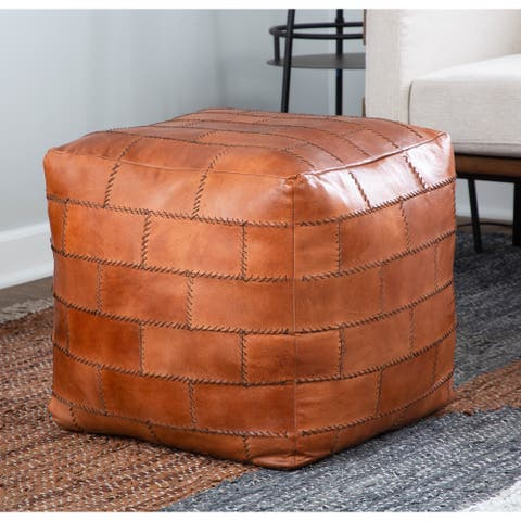Cobbler Industrial Pouf Ottoman in Leather with Patchwork Stitching