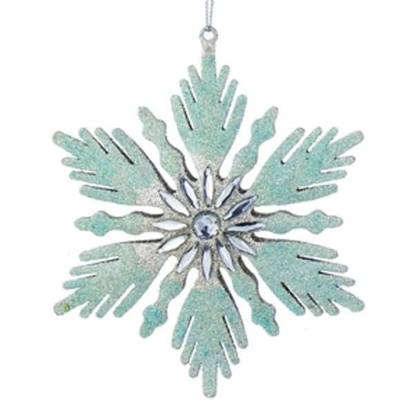 "5"" Snowy Winter Fanned Edge Glittered Aqua and Silver Snowflake with Jeweled Center Christmas Ornament"