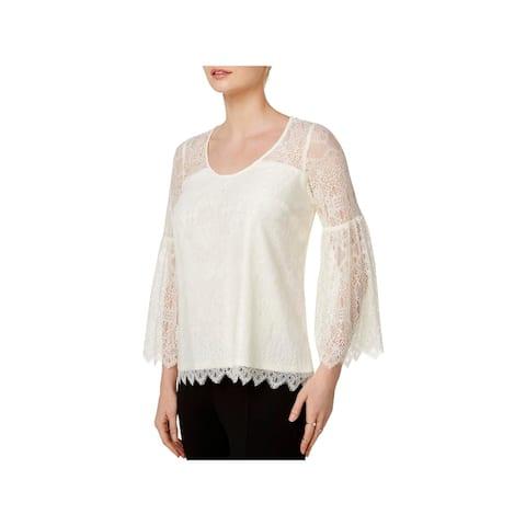 Kensie Womens Blouse Lace Lantern-Sleeve