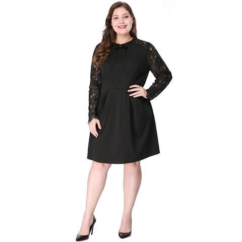 Women's Plus Size Above Knee Tie-Bow Semi Sheer Black Lace Dress