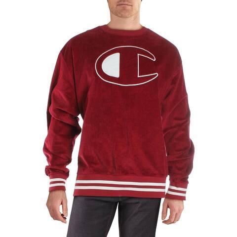 Champion Mens Crew Sweatshirt Logo Corduroy - Red