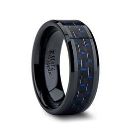 AVITUS Black Beveled Ceramic Ring with Blue & Black Carbon Fiber Inlay 8mm