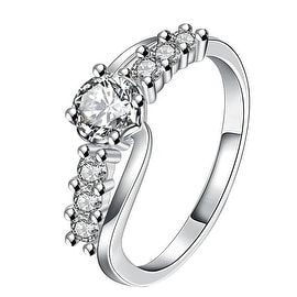 Center Crystal Jewels Lining Ring