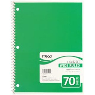 "White-Assorted Colored Covers - 1 Subject Notebook Spiral Bound 10.5""X8"" 70/Pad"