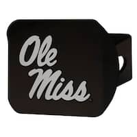 """University of Mississippi (Ole Miss) Hitch Cover - Black - 3.4""""x4"""""""