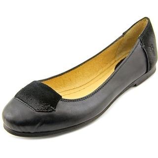Frye Carson Tab Ballet-SVLOS Women Round Toe Leather Black Flats