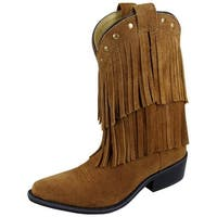 Smoky Mountain Western Boots Girls Wisteria Leather Fringe Brown