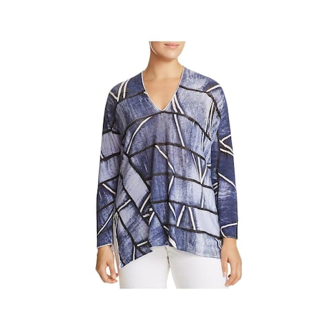 Nic + Zoe Womens Plus High Tide Pullover Top Printed V-Neck
