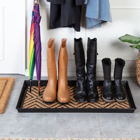 Jani Black Metal Boot Tray with Diamond Coir and Rubber Insert