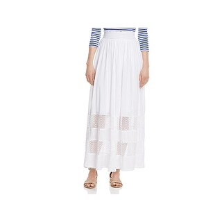 Three Dots Womens Trellis Maxi Skirt Lace Inset A-Line
