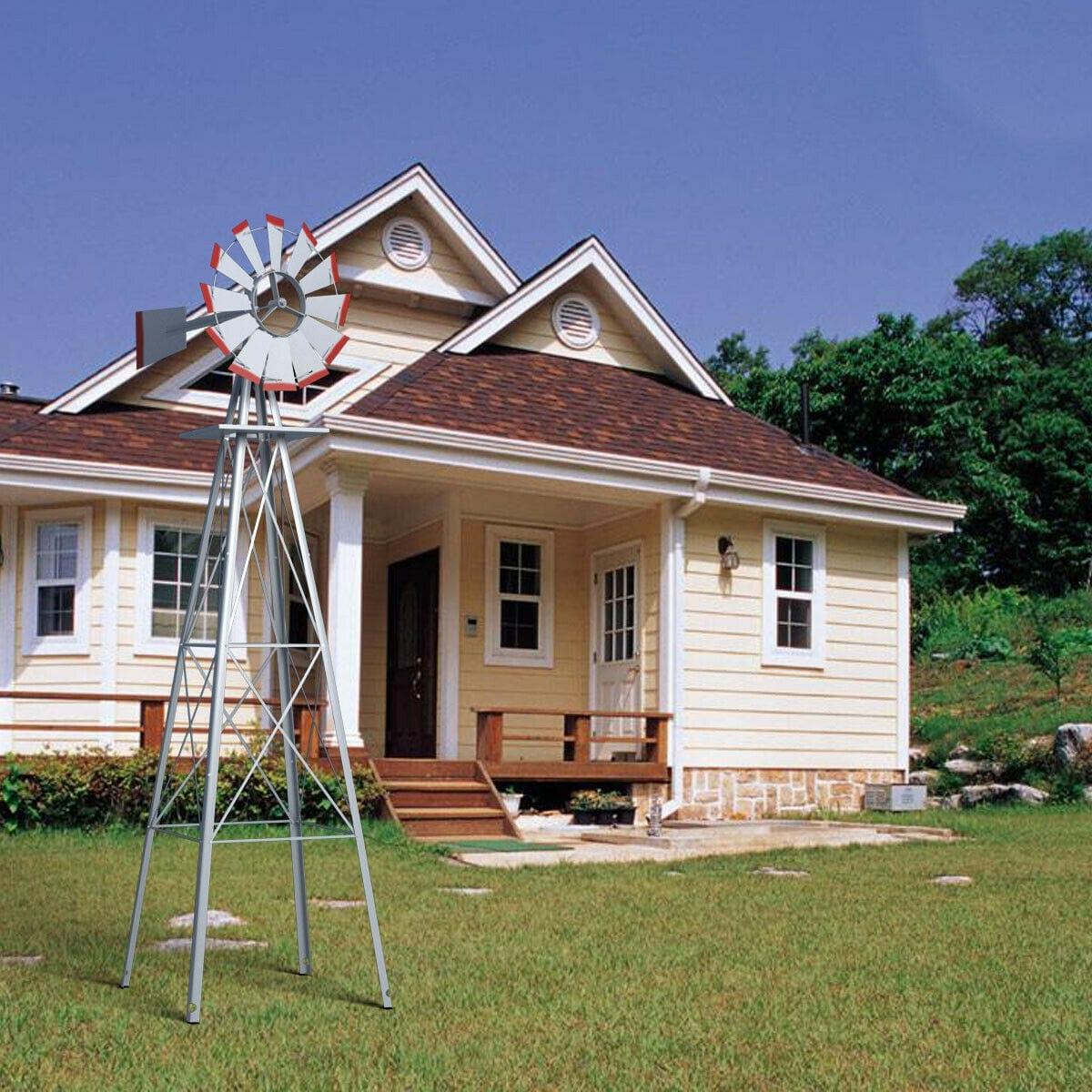 9ft Ornamental Decorative Decor Outdoor Garden Yard Wood Windmill Weather Vane