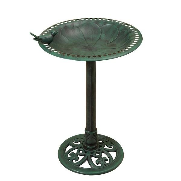 "30"" Green Verdigris Finished Antique Styled Birdbath with Basin - N/A"