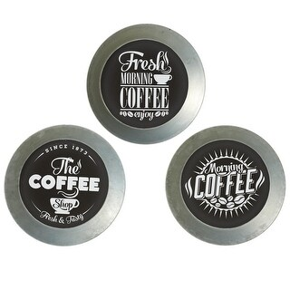 """Set of 3 Metallic Gray and White Galvanized Coffee Plate Wall Decors 13"""""""