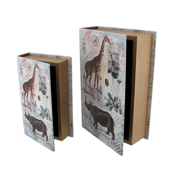 Set Of 2 Animal Postcard Print Faux Leather Book Secret Stash Boxes