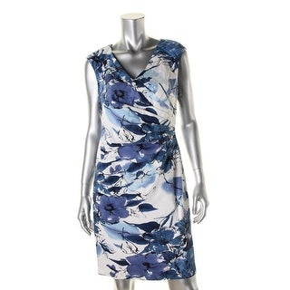 Adrianna Papell Womens Petites Cocktail Dress Floral Print Pleated