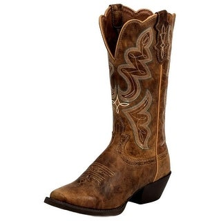 Justin Western Boots Womens Cowboy Riding Heel Square Toe Coffee L2716