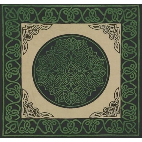 Handmade Cotton Celtic Wheel of Life Cushion Cover Shell Pillow Sham 17x17 Green Tan Blue