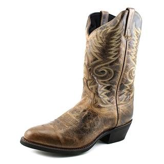 Laredo Riley Men Round Toe Leather Brown Western Boot