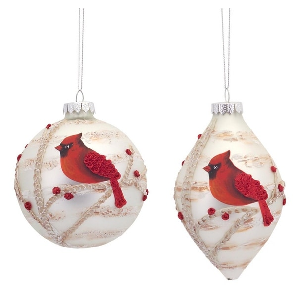 Pack of 6 Red Cardinal Bird Embellished Painted Glass Ball and Drop Christmas Ornaments
