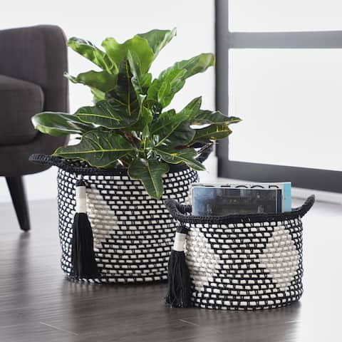 Black Polyester Traditional Storage Basket (Set of 2)