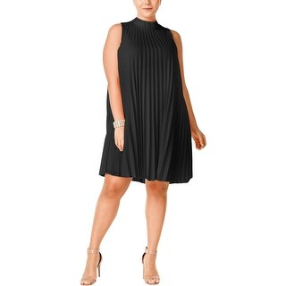 Soprano Womens Plus Cocktail Dress Pleated Mock Neck
