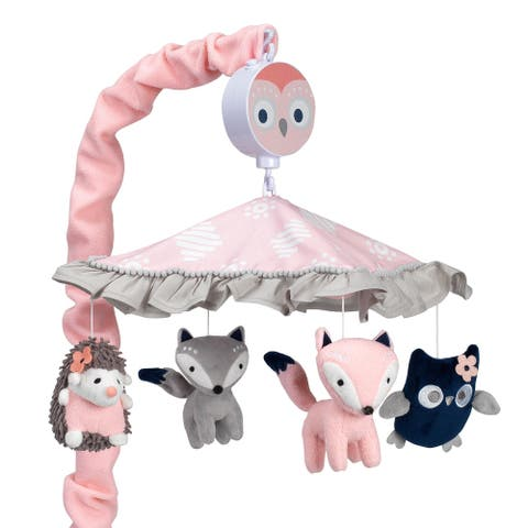 Lambs & Ivy Forever Friends Pink/Gray Woodland Owl/Fox Musical Baby Crib Mobile