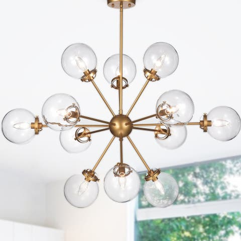 Masakee 12-light Gold Sputnik Chandelier with Glass Sphere Shades