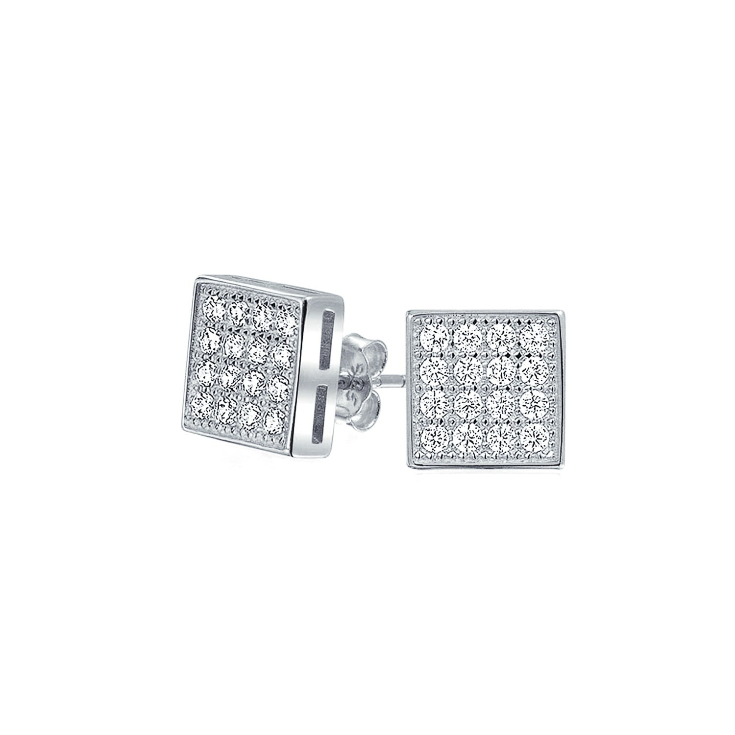 GIFT POUCH INCLUDED. SILVER CUFFLINKS SET WITH CLEAR CUBIC ZIRCONIAS