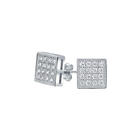 e61433916 Geometric Square Cubic Zirconia Micro Pave CZ Stud Earrings For Men For  Women 925 Sterling Silver