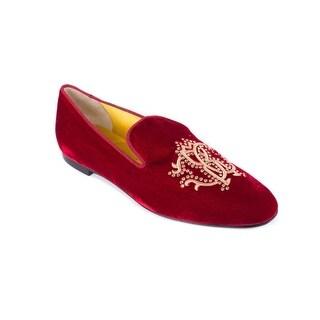 Roberto Cavalli Womens Red Velvet Crystal Embellished Loafers