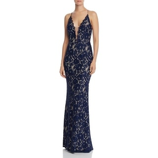 Link to Aidan by Aidan Mattox Women's Sleeveless Lace V-Neck Mermaid Gown - Navy Nude Similar Items in Dresses