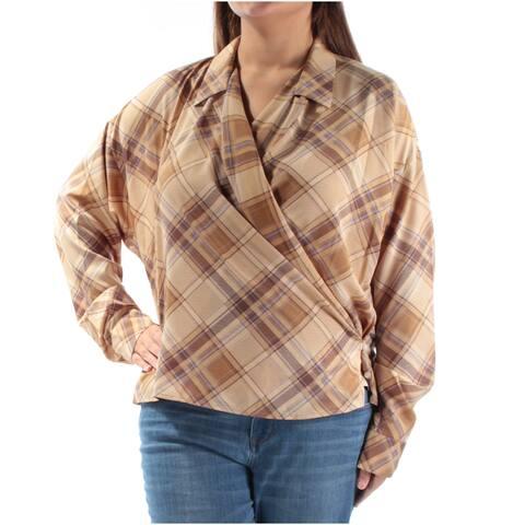 Ralph Lauren Womens Brown Plaid Cuffed Collared Wrap Top Size: XL
