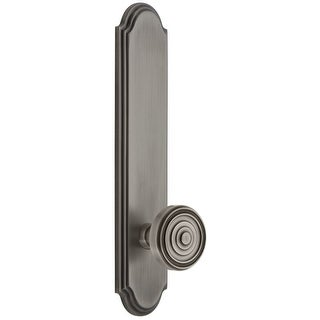 Grandeur ARCSOL_TP_PRV_238_LH  Arc Solid Brass Tall Plate Rose Left Handed Privacy Door Knob Set with Soleil Knob and 2-3/8""