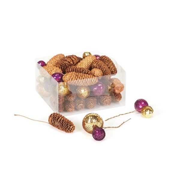 Club Pack of 41 Purple and Gold Colored Disco Balls with Glittered Christmas Pine Cones 4""