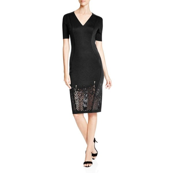 Elie Tahari Womens Shannon Wear to Work Dress Laser Cut Ribbed Trim