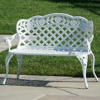 Belleze Outdoor Garden Bench Backyard Antique Patio Porch Aluminum Cast