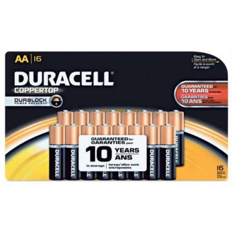 Duracell MN1500B16 Copper Top Duralock AA Battery, 1.5 Volt, 16-Pack