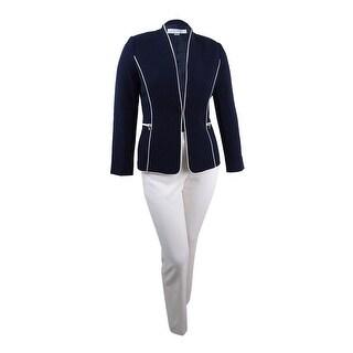 Tahari ASL Women's Zip-Pocket Piped Pantsuit - navy/cloud