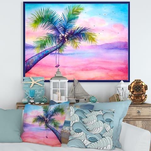 Designart 'Vivid Sunset Landscape With Palm and Swing' Nautical & Coastal Framed Canvas Wall Art Print