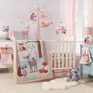 Lambs & Ivy Little Woodland Forest Animals Coral Nursery 4-Piece Baby Crib Bedding Set