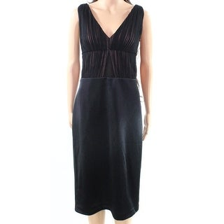 Vera Wang NEW Black Womens Size 14 Double V-Neck Satin Sheath Dress