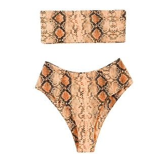Link to OMKAGI Women's 2 Pieces Bandeau Bikini Swimsuits Off Shoulder High Waist Bath... - Snakeprint-or - 4 Similar Items in Women's Surf & Swim Clothing