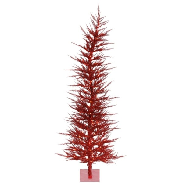 3' Pre-Lit Whimsical Red Artificial Laser Tinsel Christmas Tree - Red Lights