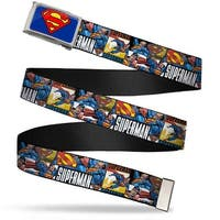 Superman Fcg Blue  Chrome Superman Action Blocks White Webbing Web Belt
