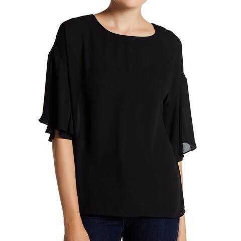 Catherine Malandrino Womens Blouse Black Size XS Scoop Neck Bell-Sleeve
