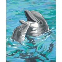 "Dolphin Duo - Paint Works Paint By Number Kit 9""X12"""