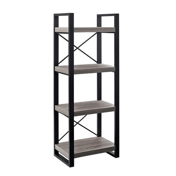 "Delacora WE-BD58UBMT 24"" Wide Four Shelf Laminate, Wood and Steel Utility Shelf - Driftwood"
