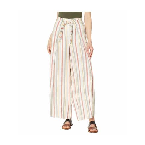 VINCE CAMUTO Womens Burgundy Striped Wide Leg Pants Size S