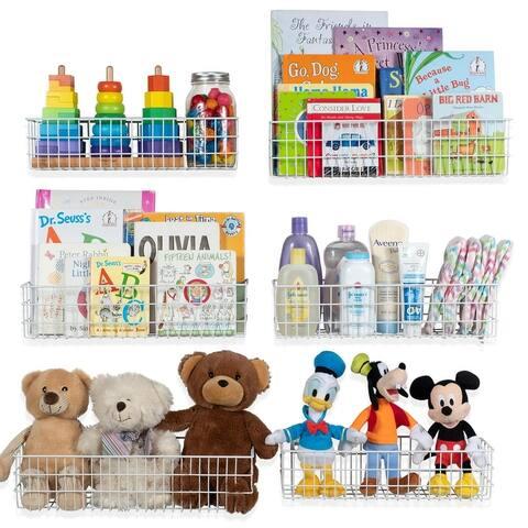 Wall35 Kansas Toy Storage Wire Basket Multi-Size Bookshelf for Kids Room Decor (Set of 6)