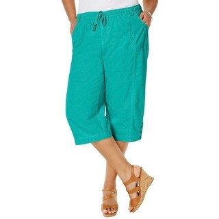 Karen Scott Womens Plus Capri Pants Stretch Elastic Waist